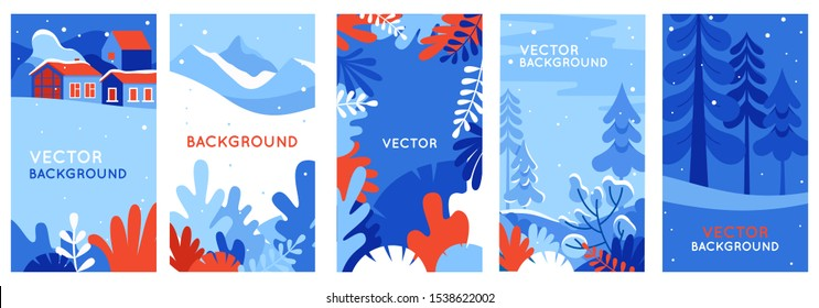 Winter landscapes - vertical banners and wallpaper for social media stories. Vector illustration in flat simple style - design templates with copy space for text - merry Christmas greeting cards and p