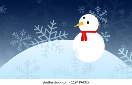 winter landscpae with a snowman and snowflakes