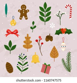Winter leaves and christmas items, elements and decorations set. Flat design modern vector illustration concept.