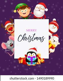 Winter lettering with cute penguin. Christmas festive banner design in frame with smiling cartoon characters on purple background. Lettering can be used for gift card, placard, invitation