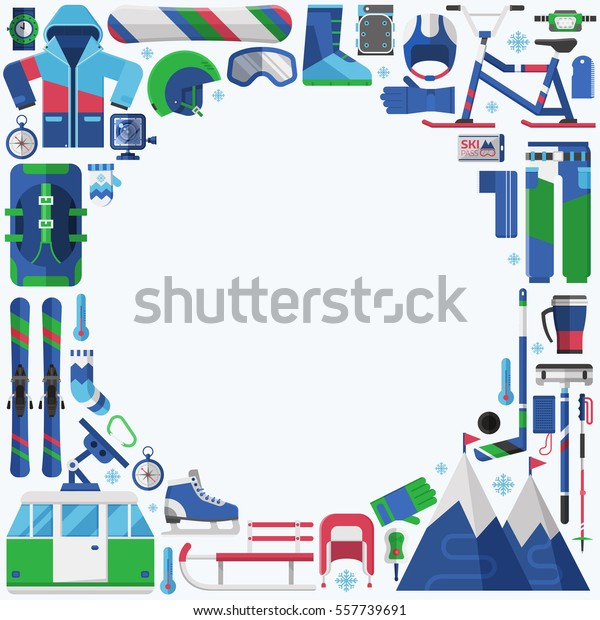 Winter Lifestyle Background Snow Activities Elements Stock Vector Royalty Free 557739691