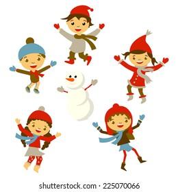 200545100 Winter Little girl sculpts snowman, Christmas boy snow children vector set