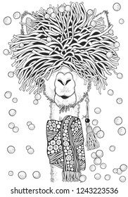Winter llama. Coloring Book page for Adult and children in doodle style. A4 size. Black and white  background. Hand-drawn christmas lama.