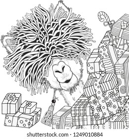 Winter llama and gift boxes. Coloring Book page for Adult and children in doodle style. Black and white  background. Hand-drawn christmas lama.