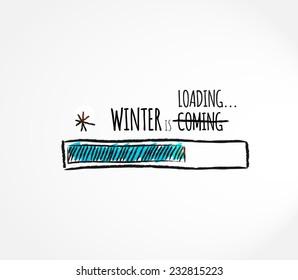 Winter loading. Fun, Progress bar design. Vector illustration.