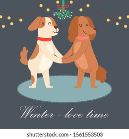 Winter love concept vector illustration. Cute cartoon pair of dogs holding hands under mistletoe wreath. Loving couple spending time outdoors on vacation. Winter holidays card design.