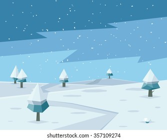 Winter low poly background with road and polygonal firs trees. Landscape season, frost outdoor snowfall, vector illustration