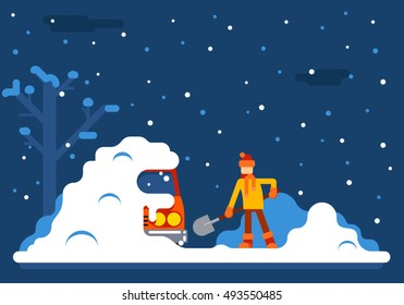 Winter Man Digs Car Out of Snow Background Flat Design Vector Illustration