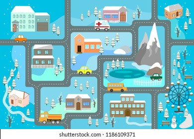 Winter сartoon map seamless pattern (roads, cars and houses). City map for children. Snowy city landscape, car track -  play mat.