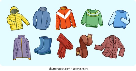 Winter men's wardrobe or clothes in doodle style