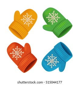 Winter Mittens Colorful Set. Seasonal Accessory. Vector illustration of knitted realistic christmas items with snowflake on blue. Cold winter fashion concept
