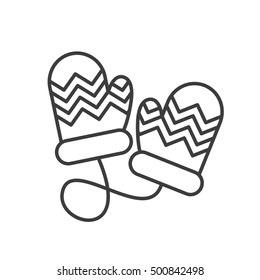 Winter mittens linear icon. Thin line illustration. Children gloves. Contour symbol. Vector isolated outline drawing