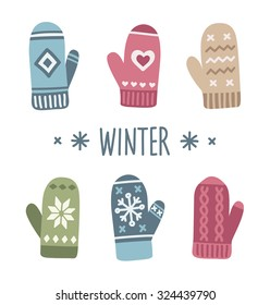Winter mittens set in soft vintage colors. Vector illustration.