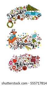 Winter months. December. January. February. Isolated vector object on white background.