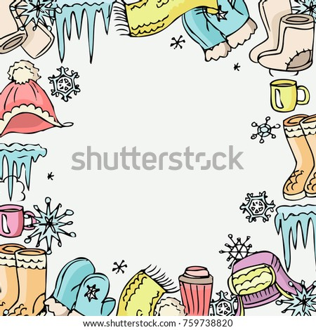 Winter Mood Background Vector Winter Clothes Stock Vector (Royalty ...