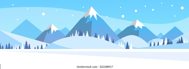 Winter Mountain Forest Landscape Background, Pine Snow Trees Woods Flat Vector Illustration