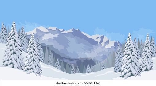 Winter mountain landscape with blue sky snowy spruce cold expanses vector illustration
