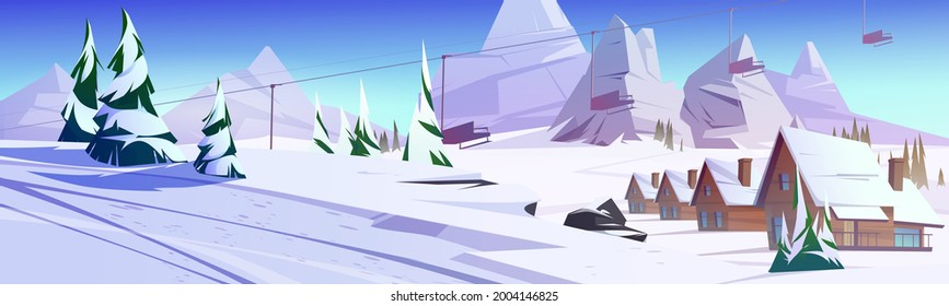 Winter mountain landscape with houses or chalet and funicular. Ski resort settlement with cableway over spruce trees and snowy peaks. Wintertime holidays vacation cottages, Cartoon vector illustration
