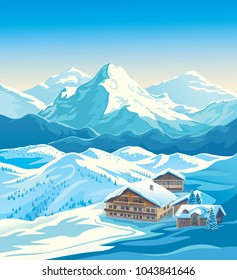 Winter mountain landscape with houses similar to the hotels of the ski resort. Vector illustration.