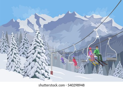 Winter mountain landscape. Lifts for skiing. Snow forest tree. Sport on vacations. winter activity. Ski snowboard. Vector illustration background