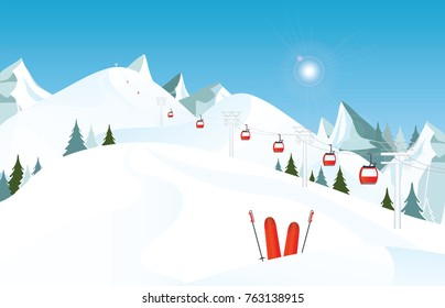 Winter mountain landscape with pair of skis in snow and ski lift against blue sky, winter holiday vacation and skiing concept vector illustration.