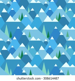 Winter mountain landscape seamless pattern. Christmas geometric background in vector.