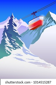 Winter mountain landscape for ski poster. Vector illustration.