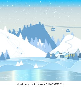 Winter mountain landscape with snow-capped mountains, ski track, foothill village. Winter vacation, skiing, ski resort, concept vector illustration.