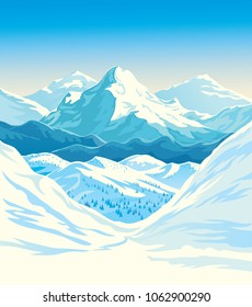 Winter mountain landscape with steep slopes along the edges. Vector illustration.