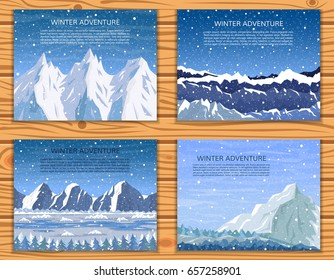 Winter mountain landscapes set. Mountaineering, trekking, climbing or travelling banner collection. Vector illustration.