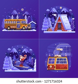 Winter mountain resort UI product illustrations with snow cabin lodge, freeride ski man on skiing slope, skibus shuttle and funicular gondola in flat gradient design. Winter skiing vacation concepts .