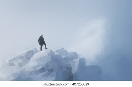 Winter mountain  with the silhouette of a climber. Low Poly