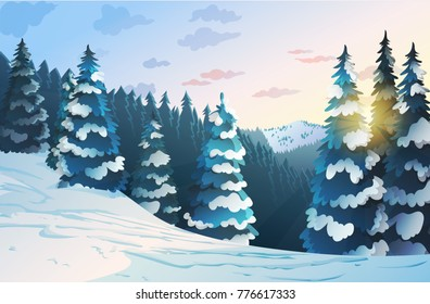 Winter mountains landscape with fire tree forest illustration