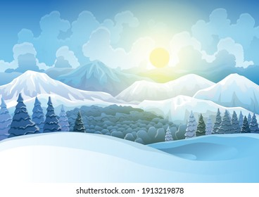 Winter mountains snowy landscape with pines forest and hills on background. Vector drawing of snow-covered field on which morning sunrise. Horizontal nature scene