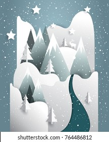 Winter mountains vector landscape. Paper immitation background.
