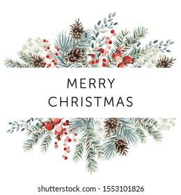 Winter nature design frame, text Merry Christmas, white background. Green pine, fir twigs, cones, red berries. Vector illustration. Greeting card, poster template. Xmas holidays