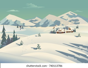 Winter nature landscape. Mountain river in snowy glacier valley. Houses on bank under snow. Lake view among hills, forest. Countryside rural scene background. Cartoon outdoors vector Illustration