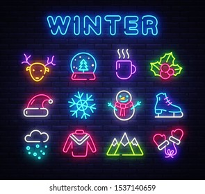 Winter neon icons set. Christmas neon signs design template. Bright signboard, light banner, Isolated icon. Vector Illustration