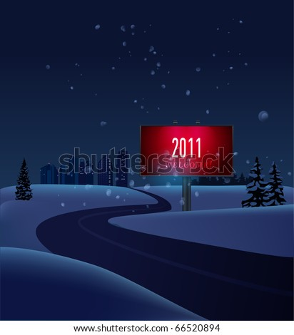 winter new year background with road leading to distant city