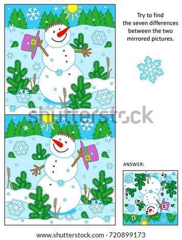 winter new year or christmas themed visual puzzle find the seven differences between the