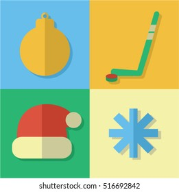 winter and new year icons