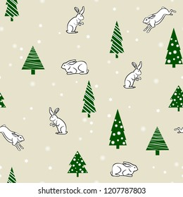 winter, new year seamless pattern with fir trees,hares and rabbits and snowflakes. Flat style
