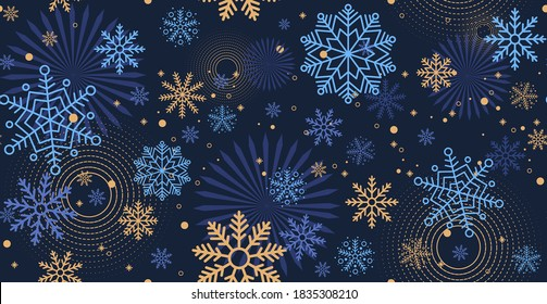 Winter night blue background with falling snow. Christmas and New Year festive design with seamless pattern made of beautiful snowflakes in modern line art style. Xmas decoration. Vector illustration.