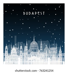 Winter night in Budapest. Night city in flat style for banner, poster, illustration, game, background.