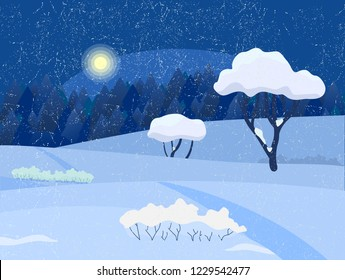 Winter night countryside landscape. Trees and bushes under snow, night forest on the background.