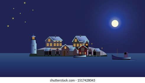 Winter night with a fishing village from the Swedish archipelago, vector illustration