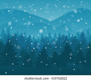 winter night forest. falling snow in the air. christmas theme. new year weather. background