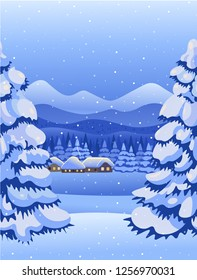 Winter night forest landscape with village, mountains. Vector drawing illustration in cartoon style.Vertical seamless background. Christmas card