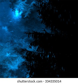 Winter night landscape, dark spruce silhouette over blue watercolor sky texture, Christmas night or New Year Eve background, vector illustration
