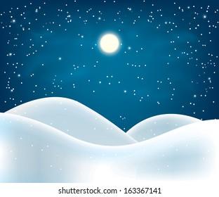winter night landscape. Merry Christmas. vector illustration eps10
